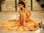 Jannat Nazir Jamarwar Shirt Neckline, Chiffon, Fabrics, Broshia Flared Silk