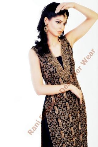 Cute Model in Black gold dress by Rani Emaan