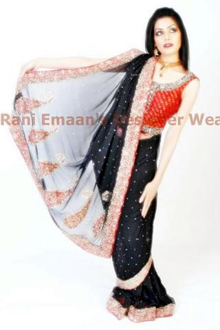 Sweet Model in Black red sari dress by Rani Emaan
