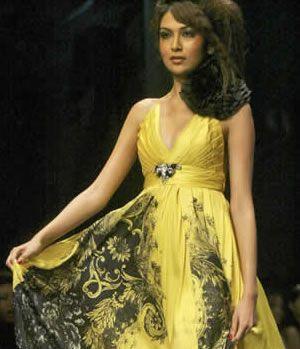 Hot Model in Yellow Frocks
