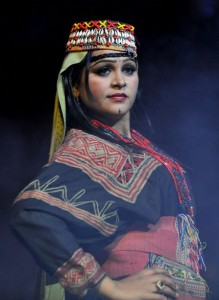 Pakistani model wears traditional dress