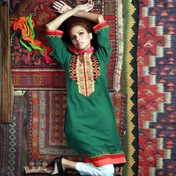 Embroidered Green Kurta