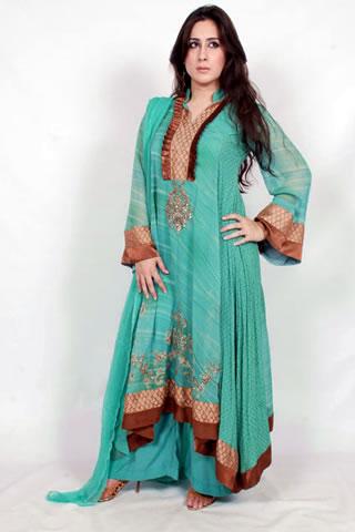 Gorgeous Pakistani Model in Fresh Green Dress