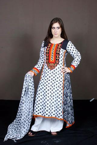 Sweet Pakistani Model in White & Black Dress