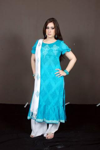 Desi Pakistani Model in Blue and White Dress
