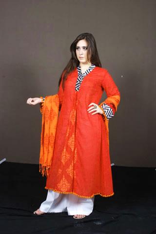 Cute Pakistani Model in Orange Dress
