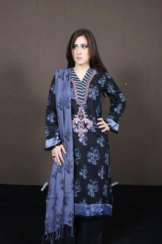 Desi Pakistani Girl in Maria B. Black & Purple Dress