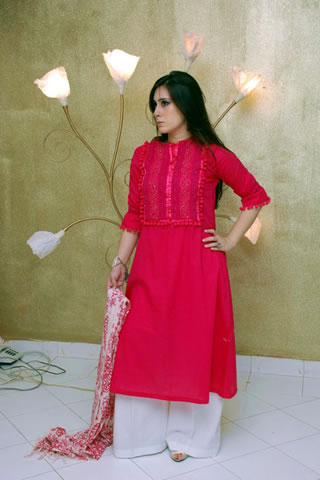 Cute Girl in Maria B. Eid Collection Red Dress