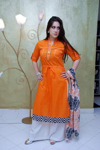 Maria B. Eid Collection Orange Dress