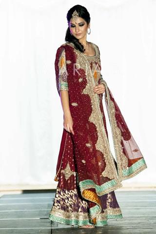 Beautiful Model in Red Bridal Dress
