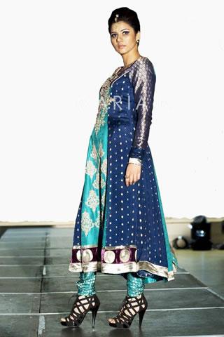 Hot Model in Blue Dress