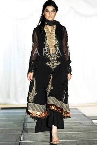 Walking Model in Black Dress