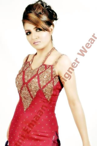 Hot Model in Red Purple dress by Rani Emaan