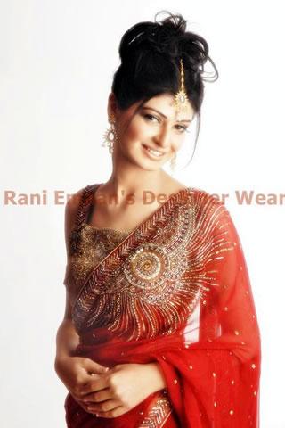 Cute Pakistani Girl in Red Sari by Rani Emman