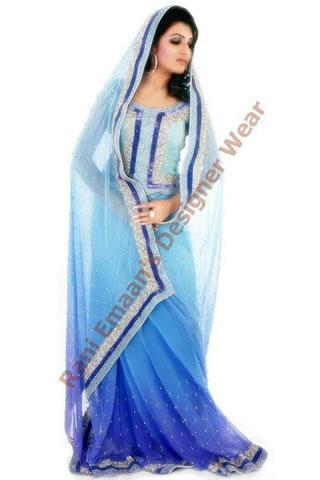Desi Girl in Two tone sari by Rani Emaan