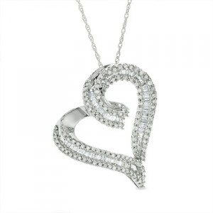 1-2 CT. T.W. Diamond Heart Pendant in 10K White Gold