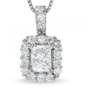 1-2 CT. T.W. Radiant-Cut Diamond Pendant in 14K White Gold