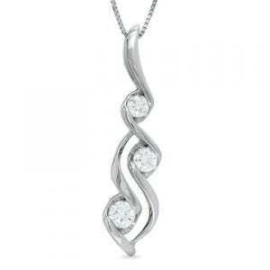 1-3 C.T. T.W. Sirena™ Three Stone Pendant in 14K White Gold