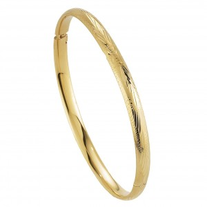 14K Gold Engraved Pattern Hollow Bangle