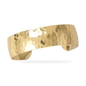 14K Gold Plated Hammered Fashion Cuff