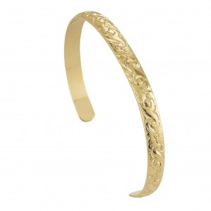 14K Gold-filled Floral Pattern Cuff Bracelet