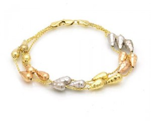 14K Tri-Color Gold Accessory Bracelet