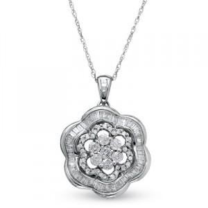 3-4 CT. T.W. Diamond Composite Flower Petal Pendant in 10K White Gold