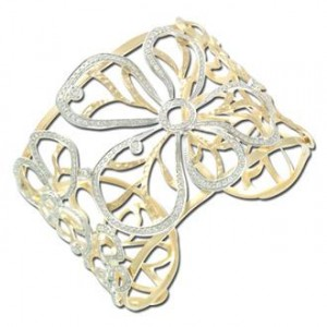 357 Diamond 14K Gold Flower Bangle Bracelet