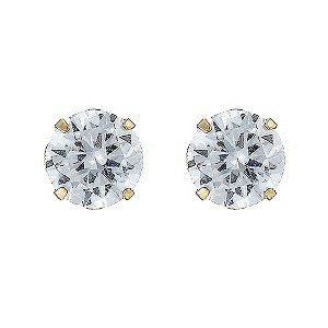 9ct Gold 5mm Andralok Cubic Zirconia Stud Earrings