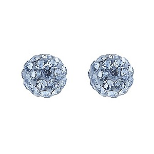 9ct Gold Blue Crystal Ball Stud Earrings
