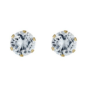 9ct Gold Cubic Zirconia Round Claw Set Stud Earrings