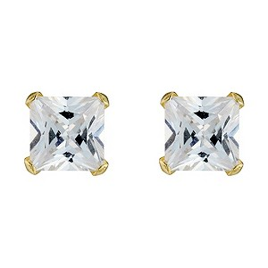 9ct Gold Cubic Zirconia Square Set Stud Earrings