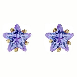 9ct Gold Lavender Cubic Zirconia Star Shaped Stud Earrings
