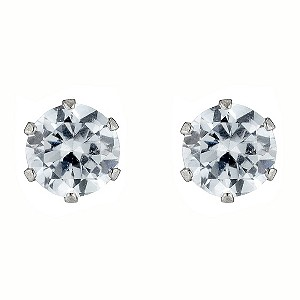 9ct White Gold Cubic Zirconia Claw Set Stud Earrings