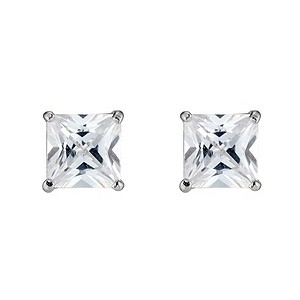 9ct White Gold Cubic Zirconia Square Stud Earrings