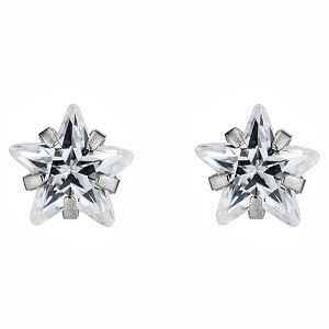 9ct White Gold Cubic Zirconia Star Stud Earrings