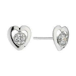 9ct White Gold Small Cubic Zirconia Open Heart Stud Earrings