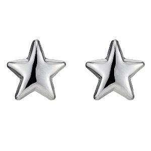9ct White Gold Star Stud Earrings