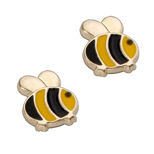 9ct Yellow Gold Bumble Bee Stud Earrings