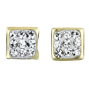9ct Yellow Gold Crystal Stud Earrings 4mm