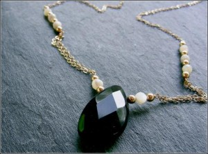Black Onyx Mother-of-Pearl 14K Gold Fill Necklace
