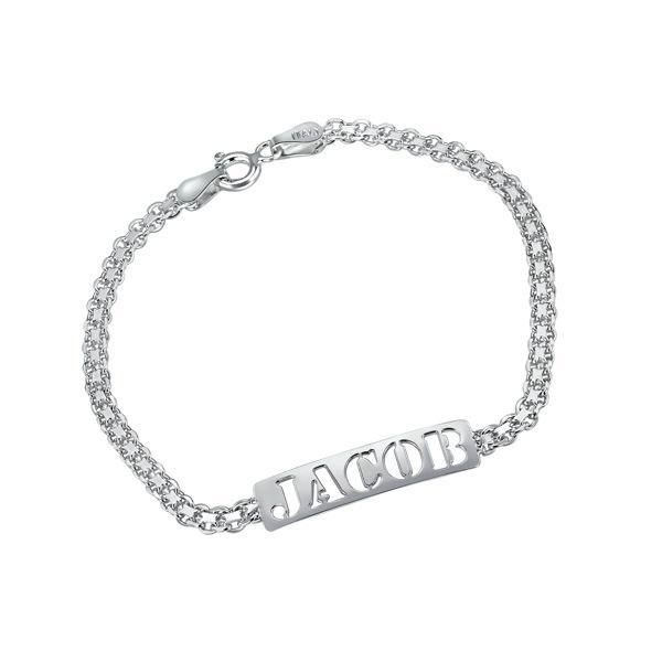 Cutout Name Personalized Silver Bracelet