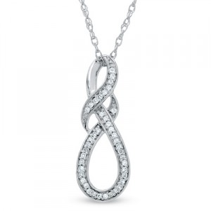 Diamond Accent Knotted Swirl Pendant in Sterling Silver