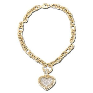 Diamond Heart Tag Bracelet with Yellow Gold