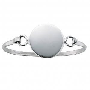 Engraveable Round Plaque Silver Bangle