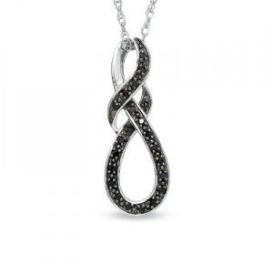 Enhanced Black Diamond Accent Swirled Knot Pendant in Sterling Silver
