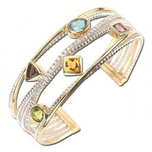 Five Elements Diamond Bangle Cuff Bracelet