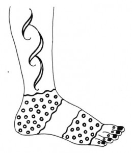 Henna Design Sketch on Paper for Both Foot