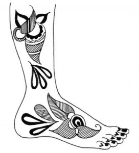 Pakistani Henna Design Sketch on Paper for Foot