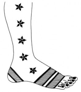 Full Foot Henna Design Sketch on Paper
